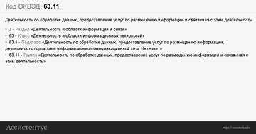 Расшифровка кода ОКВЭД 63.11