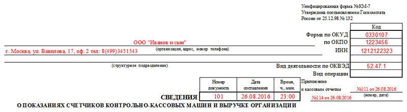 Форма КМ-7. Заполнение, часть 1
