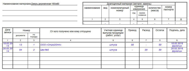 Образец заполнения карточки учёта материалов, часть 2