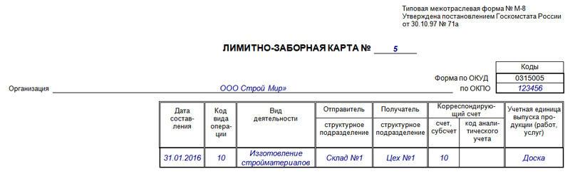 Образец заполнения лимитно-заборной карты, часть 1