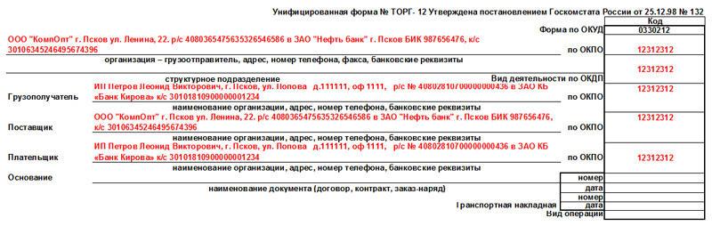 Образец заполнения товарной накладной по форме ТОРГ-12. Часть 1