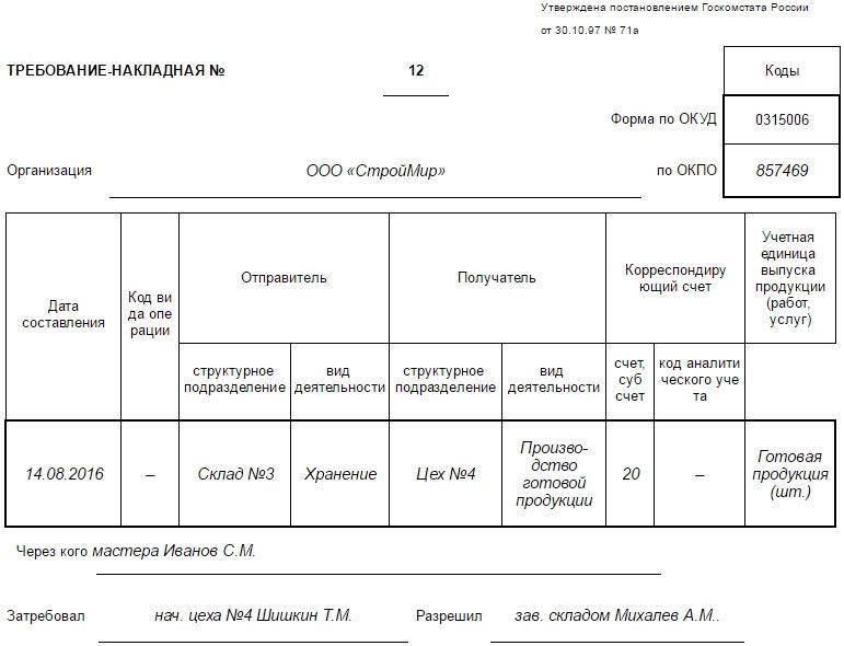 Образец заполнения требования-накладной по форме М-11, часть 1