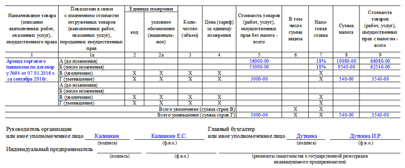 Образец корректировочного счёта-фактуры, часть 2