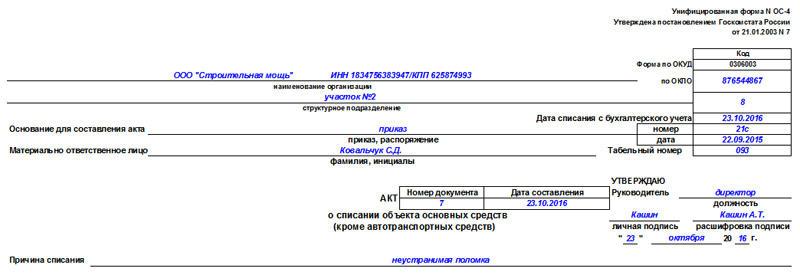 Образец акта о списании основных средств по форме ОС-4, часть 1