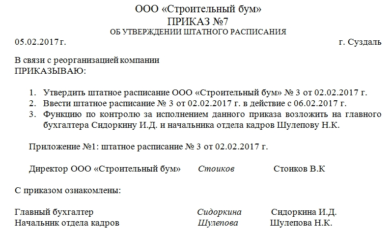 Образец приказа на утверждение штатного расписания