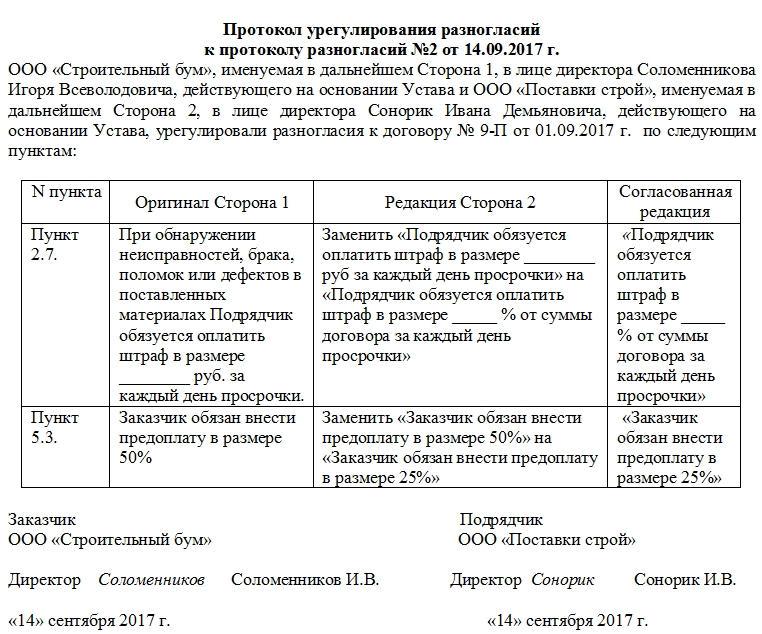 Образец протокола урегулирования разногласий к протоколу разногласий
