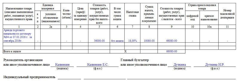 Образец Счёта Фактуры без НДС