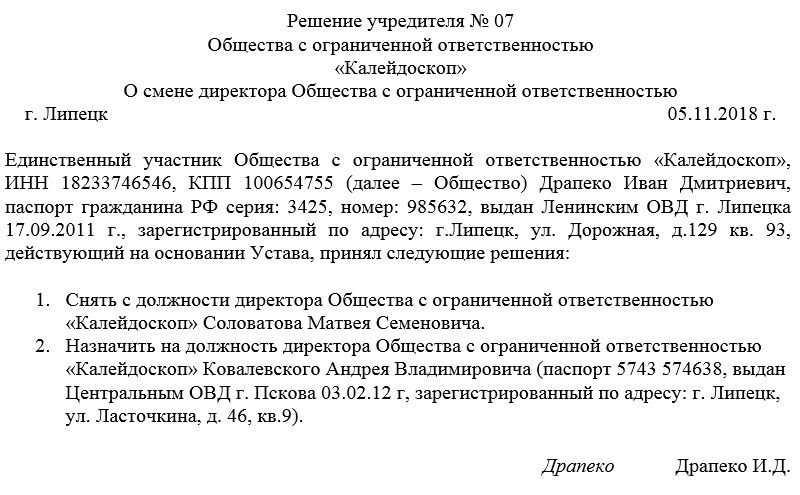 Решение учредителя о ликвидации ооо примеры документов: скачать.