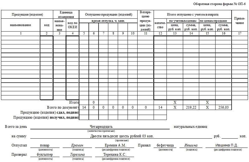 Дневной заборный лист (форма ОП-6). Часть 2