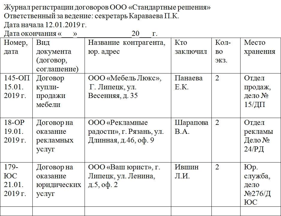 Журнал Регистрации Договоров Форма