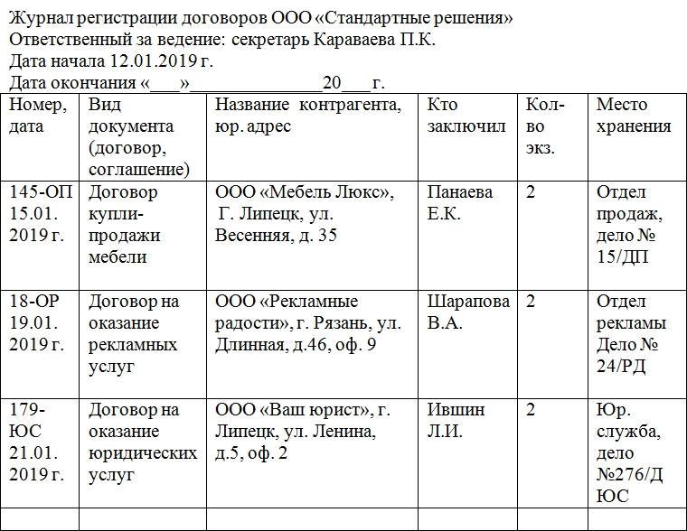 Образец журнала регистрации договоров