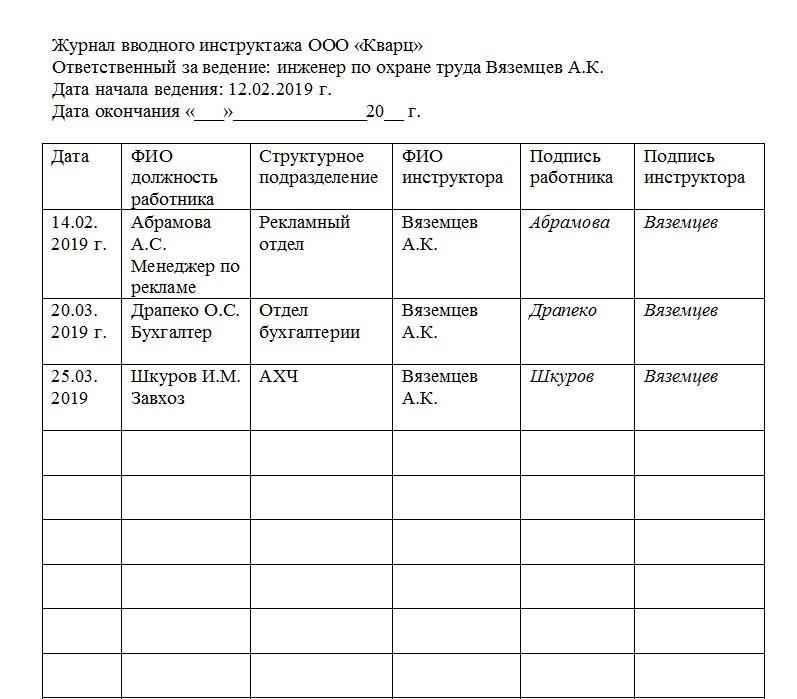 Образец журнала регистрации вводного инструктажа по охране труда