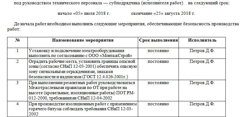 Акт-допуск для производства строительно-монтажных работ. Часть 2.