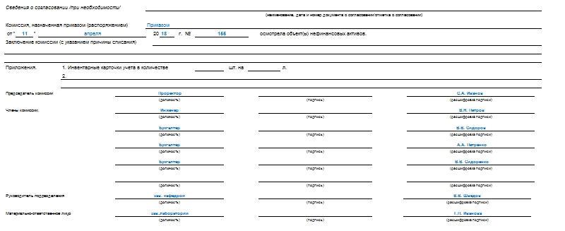 Акт о списании объектов нефинансовых активов форма 0504104. Часть 2.
