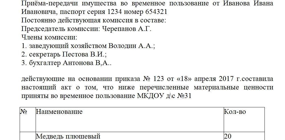 Акт приема передачи кассира при увольнении