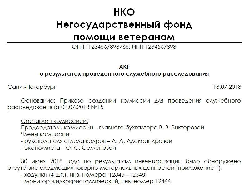Акт о результатах работы комиссии по факту прогула