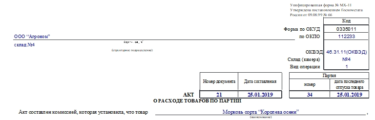 Акт о расходе товаров по партии по форме МХ-11. Часть 1
