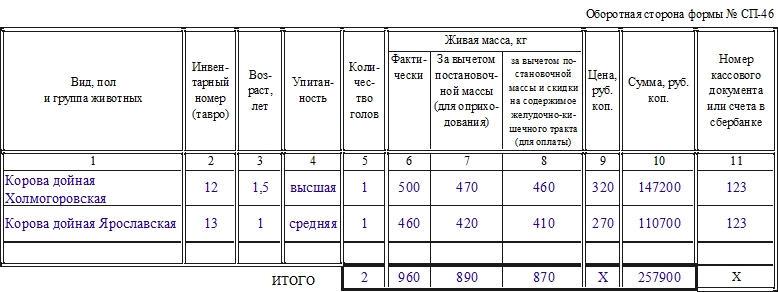 Акт на передачу (продажу), закупку скота и птицы по договорам по форме СП-46. Часть 2