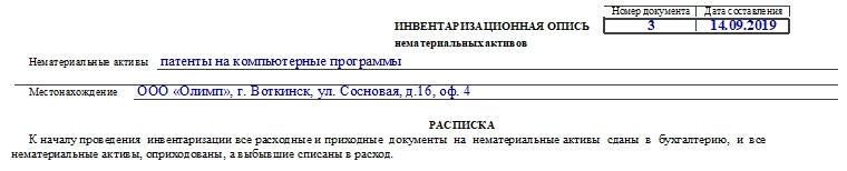 Инвентаризационная опись нематериальных активов по форме ИНВ-1а. Часть 1