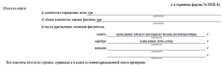 Инвентаризационная опись драгоценных металлов, содержащихся в деталях, по форме ИНВ-8а. Часть 2