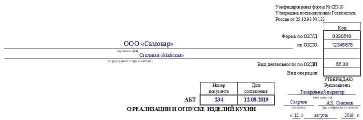 Акт о реализации и отпуске изделий кухни по форме ОП-10. Часть 1