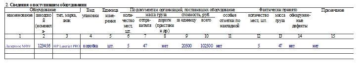 Акт о приеме (поступлении) оборудования по форме ОС-14. Часть 2