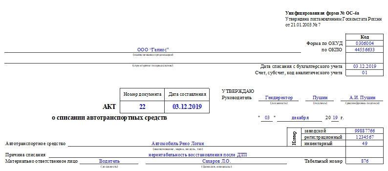 Акт о списании автотранспортных средств по форме ОС-4а. Часть 1
