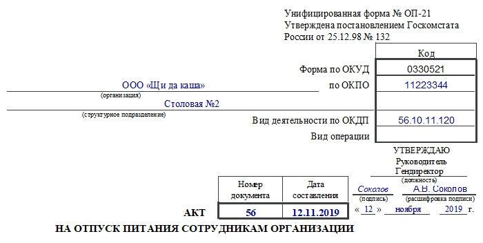 Акт на отпуск питания сотрудникам организации по форме ОП-21. Часть 1
