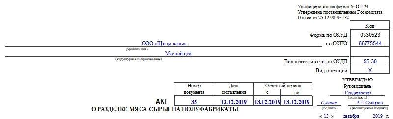 Акт о разделке мяса-сырья на полуфабрикаты по форме ОП-23. Часть 1