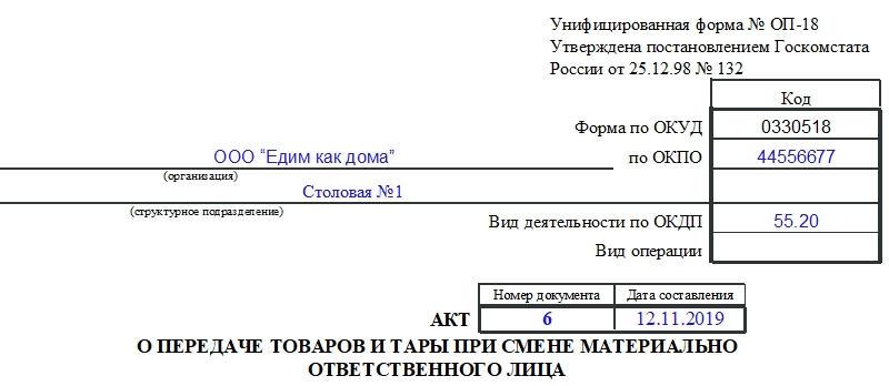 Акт о передаче товаров и тары при смене материально ответственного лица по форме ОП-18. Часть 1