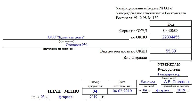 План-меню по форме ОП-2. Часть 1