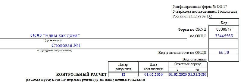 Контрольный расчет расхода продуктов по нормам рецептур на выпущенные изделия по форме ОП-17. Часть 1