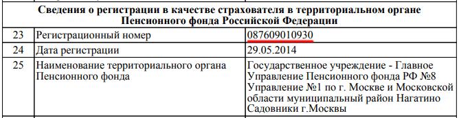 Результат искомого номера в ПФР в файле PDF