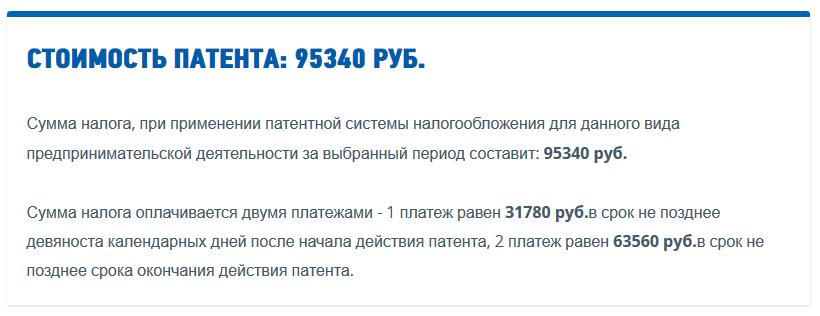 Результат стоимости патента для ИП