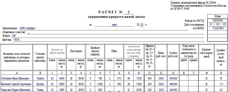 Расчет определения прироста живой массы по форме СП-44. Часть 1