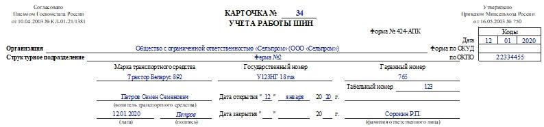 Карточка учета работы шин по форме 424-АПК. Часть 1