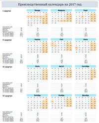 Производственный календарь 2017 в вертикальной ориентации