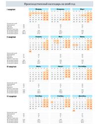 Производственный календарь 2018 в вертикальной ориентации