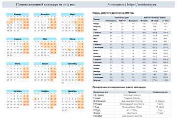 Производственный календарь 2019 в горизонтальной ориентации