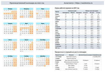 Производственный календарь 2021 в горизонтальной ориентации