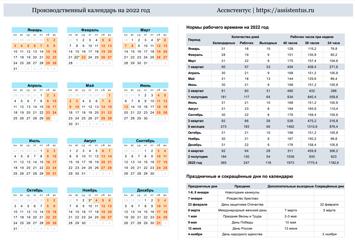 Производственный календарь 2022 в горизонтальной ориентации