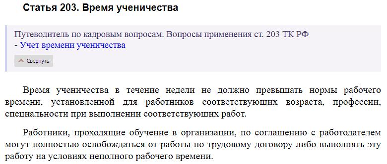 Статья 203 ТК РФ