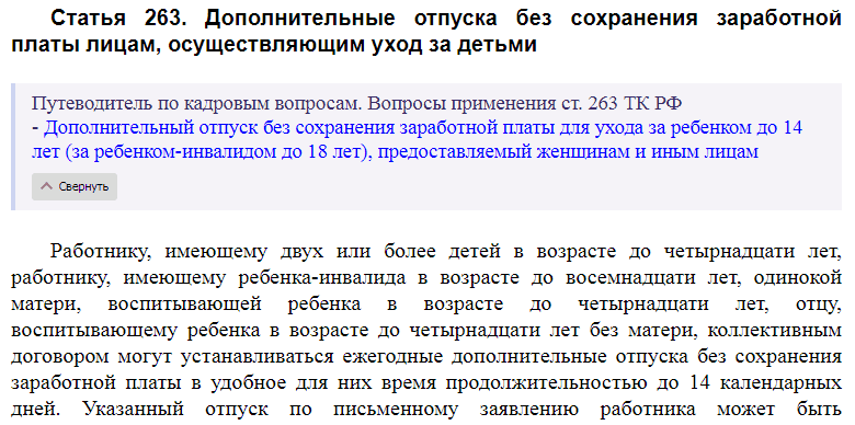 Статья 263 ТК РФ