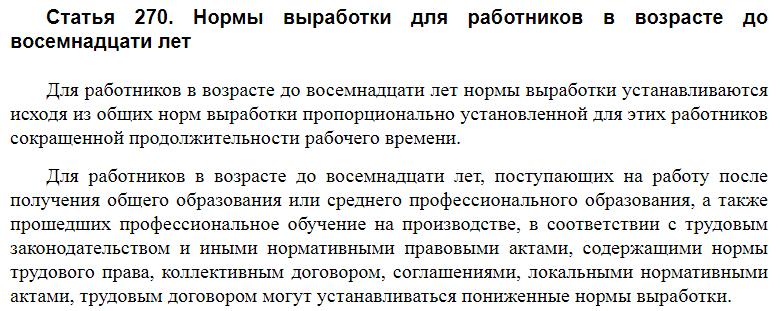 Статья 270 ТК РФ
